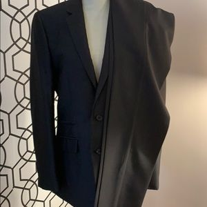 Profile black pinstripe slim fit suit